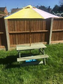 Children picnic style table and parasol