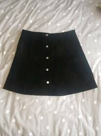 Miss Selfridges a line black soft leather skirt