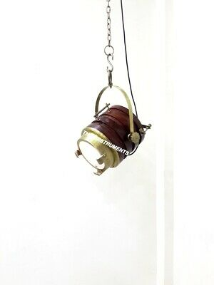 Vintage Brown Wooden Hanging Pendant Light Nautical Lamp Home Decor