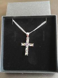 Ladies silver cross and chain with rainbow mystic stones marked 925 new