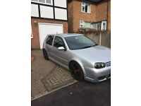 Silver MK4 Golf 1.9 GT TDI - R32 body kit, twin exhausts and 18 inch alloys.