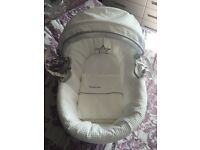 Clair de lune silver linings Moses basket & stand