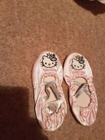 NEW!!! girls ballet shoes,size 8.5-9.5 Hello kitty/ red flowers