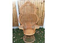 Vintage wicker peacock chair