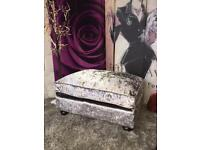 New Laurence Llewelyn-Bowen Scarpa Footstool In A Silver Crushed Velvet Fabric