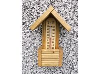 Garden Thermometer, wooden, wall/fence mounting.