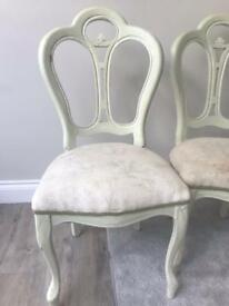 Dining chairs - x2 Pale Green, need TLC