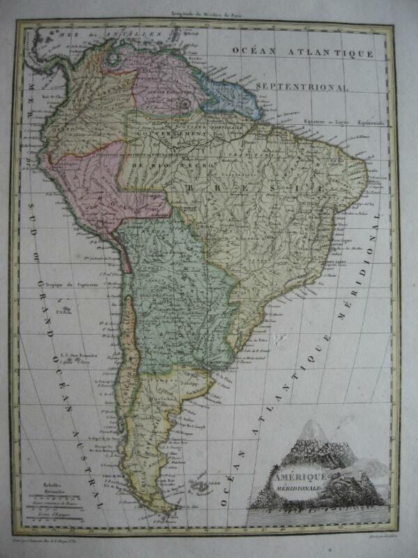 1812  LAPIE - NICE map SOUTH AMERICA
