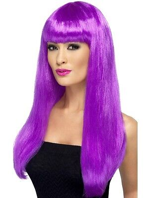 Womens Girls Purple Babelicious Wig Long Straight Fringe Katy Perry Colour Hair - Purple Katy Perry Wig