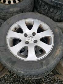 Peugeot alloys 15inch 4x108 with tyres 206 306 307 berlingo partner