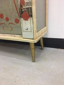 70s Glass cabinet with floral detail £40.00