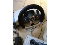 Steering wheel and peddles (wireless) for Xbox 360