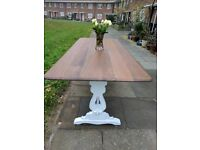 Vintage rustic farmhouse long refectory kitchen/ dining table. Shabby chic, white distressed.