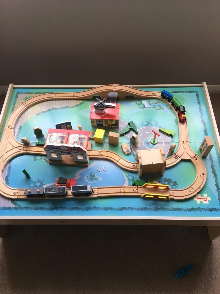 Bigjigs train table with track, trains and accessories
