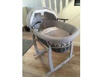 Grey Moses basket - Clair de lune shooting star - grey and white