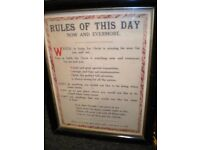 RULES OF THIS DAY FRAMED POSTER c1900s 25X20 INCHES