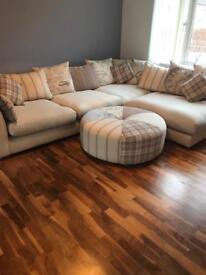 Oatmeal DFS Corner Sofa, Chair & Footstool