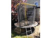 8ft trampoline with enclosure and steps