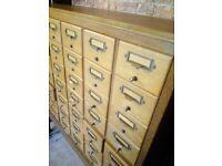 vintage bank of library index drawers wine rack sideboard