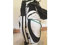 BMW White leather cart golf bag