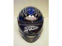 VIPER RS-220 REACTOR GLOSS BLACK/BLUE FULL FACE CRASH HELMET (473)