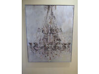 New Framed Metallic Chandelier Wall Art Canvas With Diamantes RRP £149