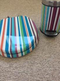 Toilet seat & matching swing bin