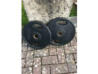 2 x 15kg Olympic weight plates, rubber coated