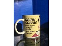 "Novelty Retro Mug - ""Drink Coffee Do Stupid Things Faster With More Energy"""