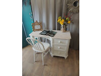 Shabby chic solid pine desk dressing table with chair