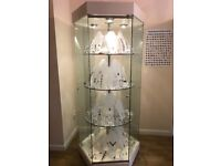 Large free standing glass display cabinet, one glass panel at the back missing. Collection only