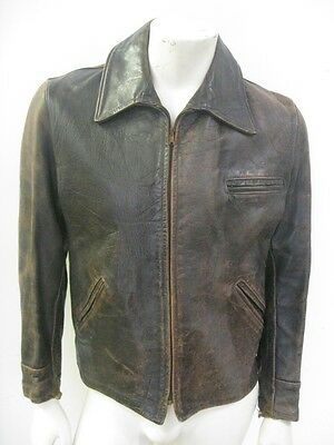 Vintage 1950s Leather Motorcycle Jacket Side Buckles Size MEDIUM