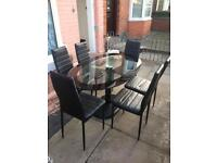 Dining glass table with 6 chairs good condition