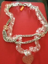 Folli Follie perspex/silver chain necklace