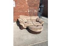 Large 2 seater sofa with half moon puff