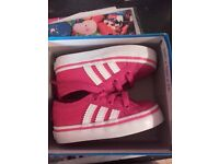 ADIDAS PINK GIRLS TRAINERS SIZE 3K