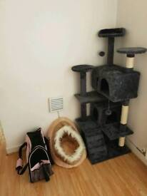 Cat play centre, bed and carrier bag.