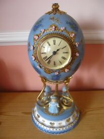 Decorated Ostrich Egg in the Faberge Style with West German Hechinger clock insertion
