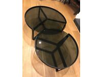 Set of 2 Black Glass and Steel Nesting Coffee Tables