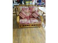 Cane bamboo conservatory sofa 2 x chairs