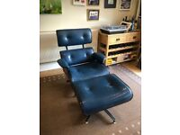 Vintage reclining lounge chair and ottoman - eames style repro mid century leather
