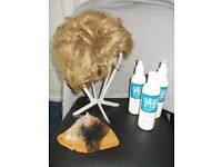 Wig, stand, shampoo,conditioner and skull cap