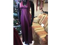 Plum halter neck formal dress