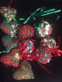 Hand made Christmas baubles to match Christmas wreaths