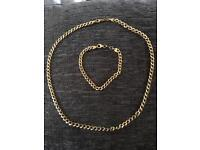 9CT gold & 925 silver bonded chain & bracelet