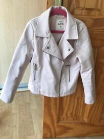 Girls pink leather look jacket size 7-8 M&S