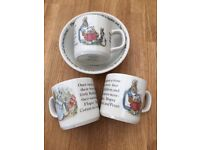Mid-90s Peter Rabbit Wedgewood Mugs (3) and free matching bowl