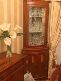 Corner display unit - yew wood