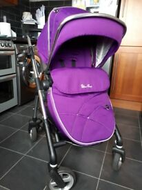 Silver cross wayfarer travel system/pram with car seat and isofix base unit