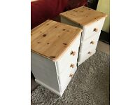 Up Cycled Two Solid Pine Bedside Tables